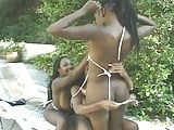 3 big boobed black pussy munchers play with each other