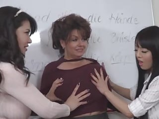 Hitomi and Anri touch out Milena's huge tits then they all suck
