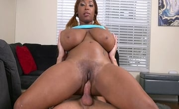 Teenage ebony Rachel Raxxx get's a mouthful of spunk after fucking