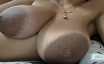 Sexy white webcam milf with huge brown areolas